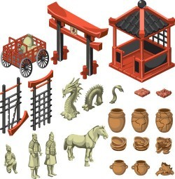 Terracotta and Japan Torii Building vector