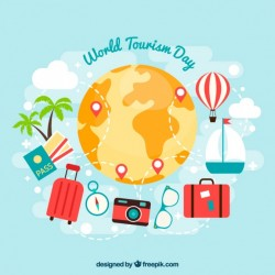 Tickets and passport ready for world tourism day Vector | Free Download