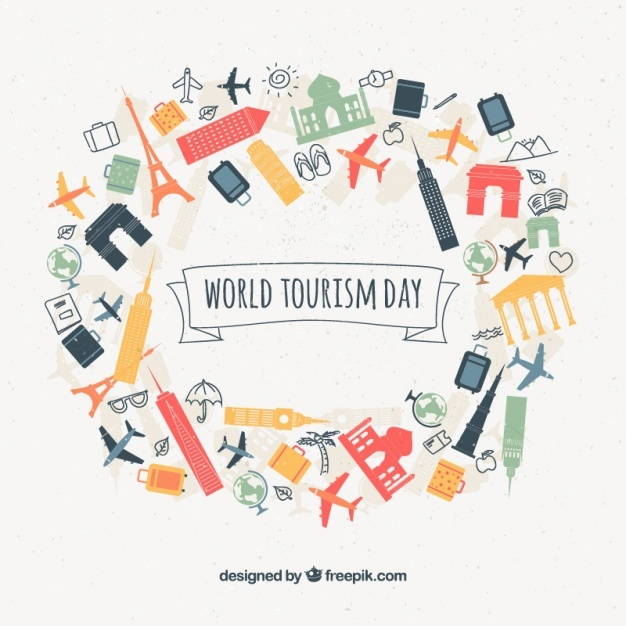 Tourism day background with monuments and travel objects Vector | Free Download