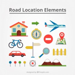 Travel elements set in of flat design Vector | Free Download