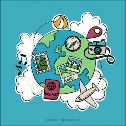 Travel items for world tourism day Vector | Free Download