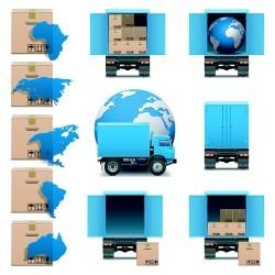 Trucks and cargo vector