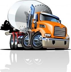 Turning cement tanker vector
