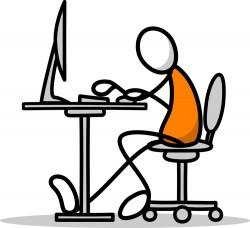 Using a computer stick figure cartoon characters vector
