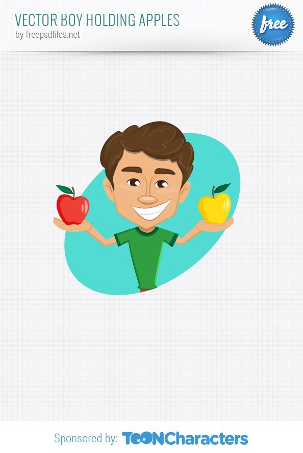 Vector Boy Holding Apples – Vector Characters
