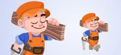 Vector Carpenter Boy
