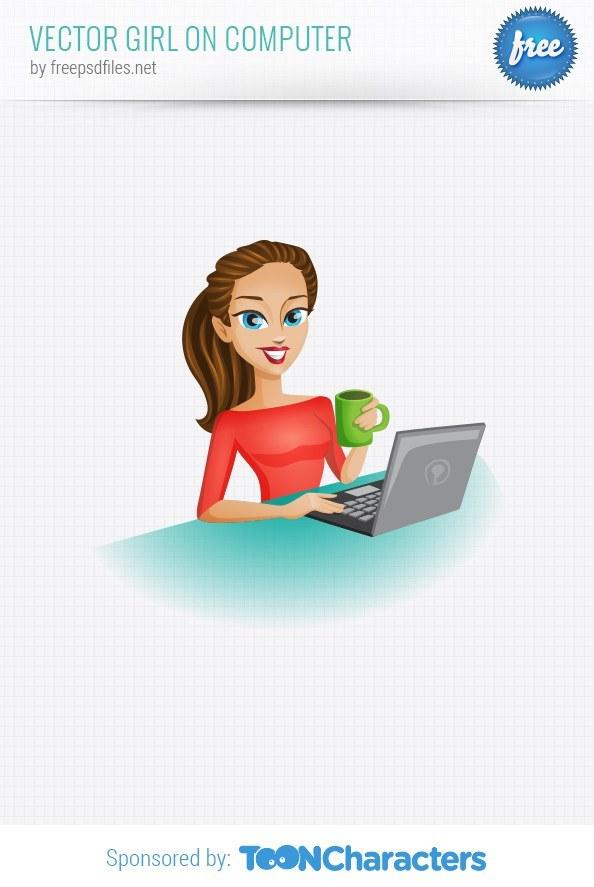 Vector Girl on Computer – Vector Characters