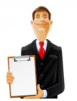 Vocational man holding a folder vector