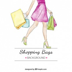 Watercolor background of woman with several shopping bags Vector | Free Download