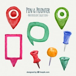 Watercolor pin and pointer collection Vector | Premium Download