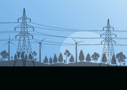 Windmills and transmission tower vector