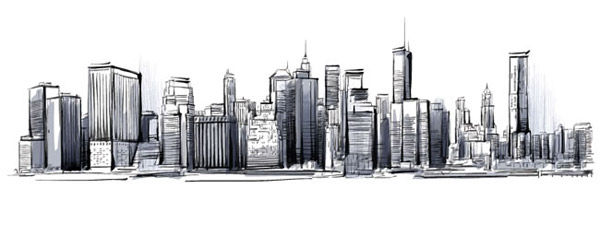 handpainted city skyline