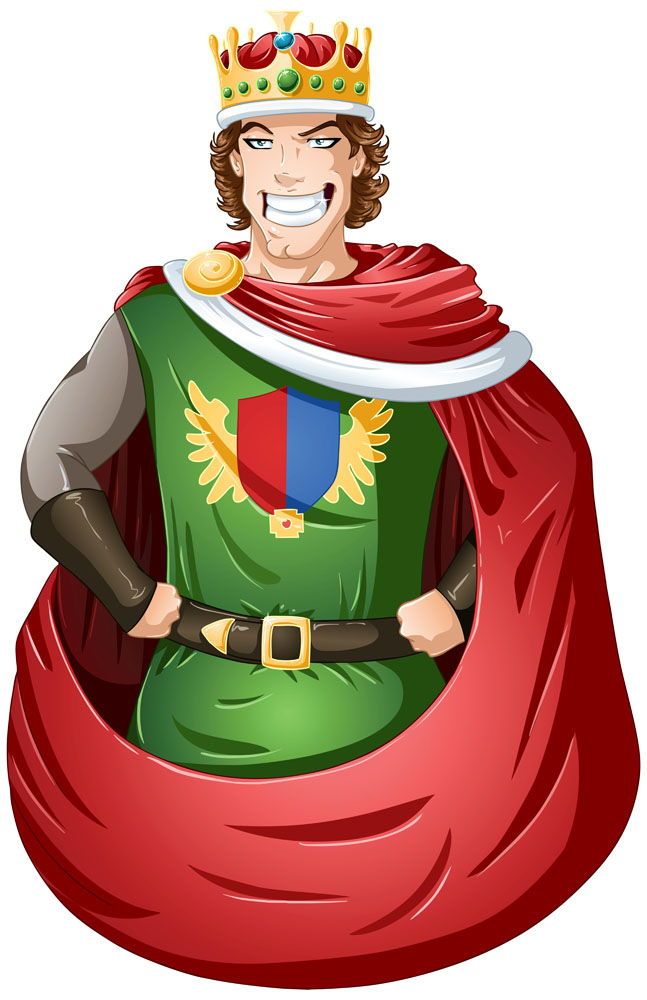 A man wearing a crown vector