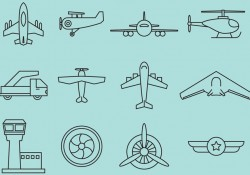 Airplanes Line Icons Free Vector