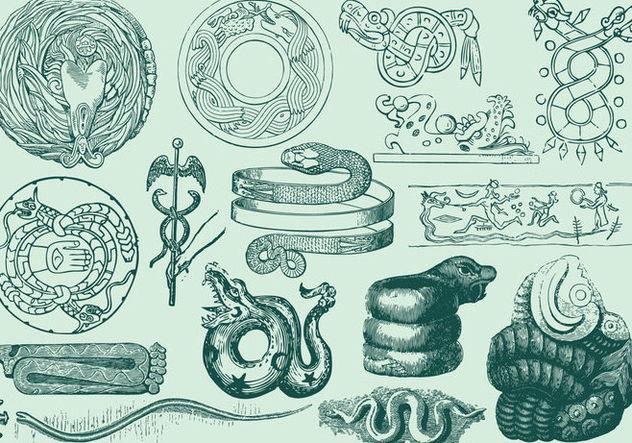 Ancient Serpent Art Free Vector