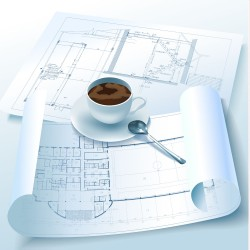 Architectural drawings and coffee vector