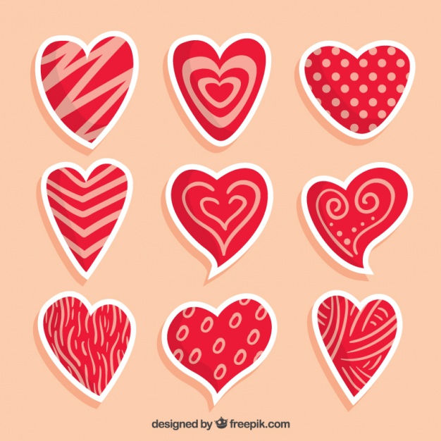 Assortment of hand-drawn hearts with different designs
