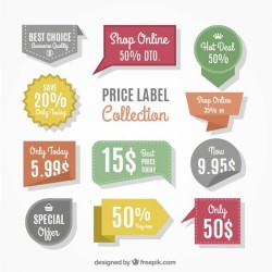 Assortment of price stickers with different designs