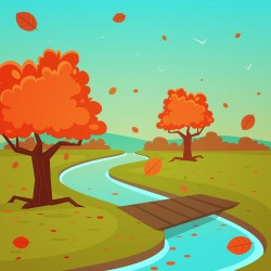Autumn creek wooden bridge vector