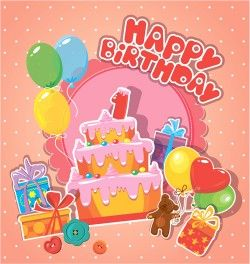Baby birthday card with cake vector material 01