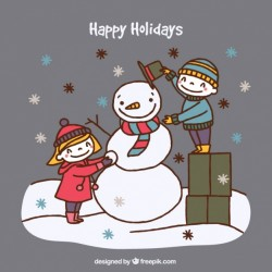 Background of happy children sketches making a snowman