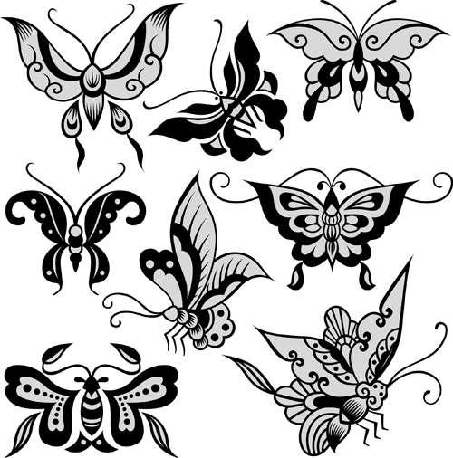 Beautiful decorative butterflies vector design 02