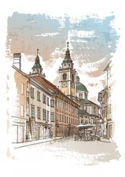 Beautiful hand-painted European-style street vector