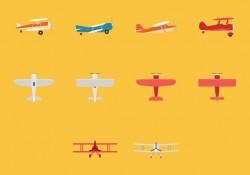 Biplane Icon Set Free Vector
