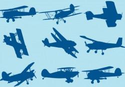 Biplane Silhouettes Free Vector