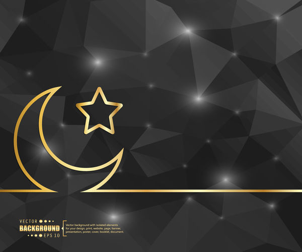 Black polygon background with golden moon and star