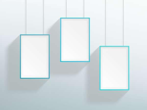 Blank blue realistic hanging frames design vector