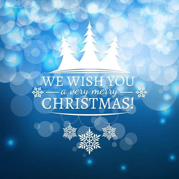 Blue Background With Lights For Christmas Vector Free
