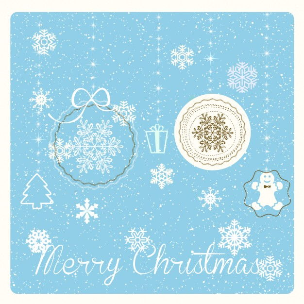 Blue card with christmas items Vector | Free Download