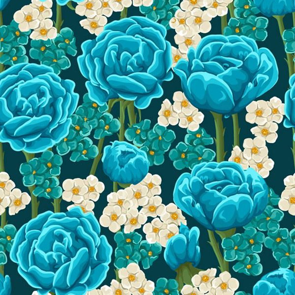 Blue Rose seamless background vector