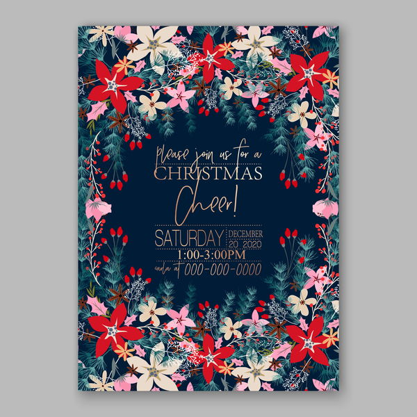 Blue wedding cards template with elegant flower vector 15