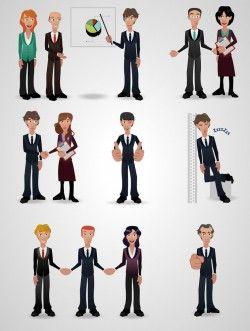 Business men and women vector cartoon Cooperation