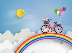 bicycle and rainbow with cloud vector