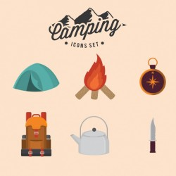 Camping icons set Vector | Free Download