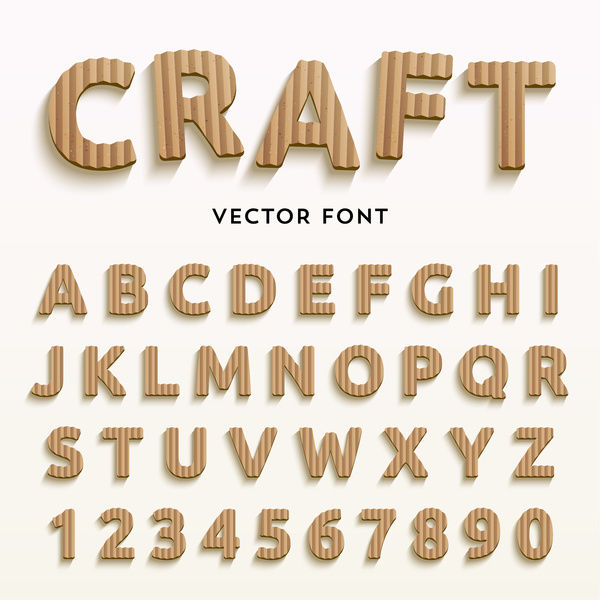 Carft alphabet with numbers vectors
