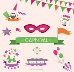 Carnival decorative elements vector pictures