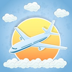 Cartoon aircraft and clouds vector