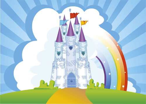 Cartoon castles scenery vector 01