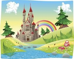 Cartoon castles scenery vector 02