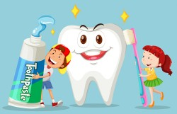 Cartoon children with dental care vector 01