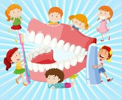 Cartoon children with dental care vector 02