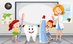 Cartoon children with dental care vector 03