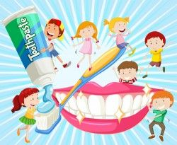 Cartoon children with dental care vector 04