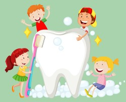 Cartoon children with dental care vector 05