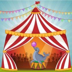Cartoon circus tent and animals design vector 01