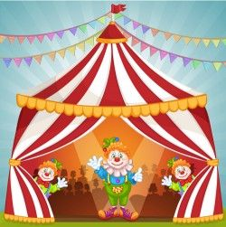 Cartoon circus tent and animals design vector 05
